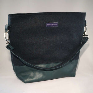 Martha tote style shoulder bag in green wool and leather