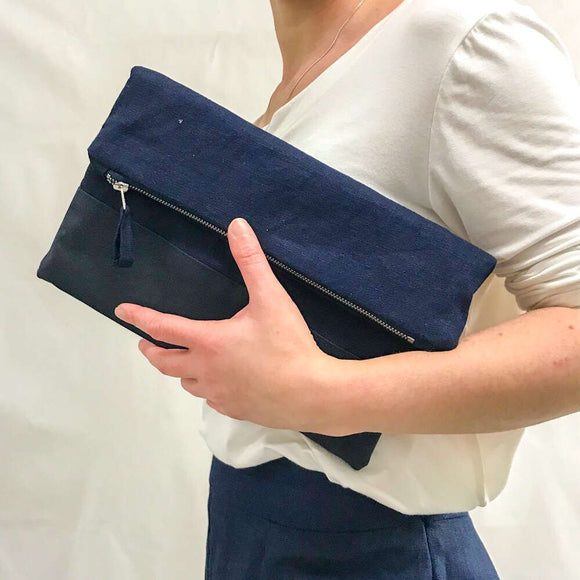 navy blue linen canvas fold over clutch bag