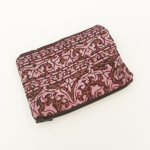 Maroon and Purple Silk Coin Purse