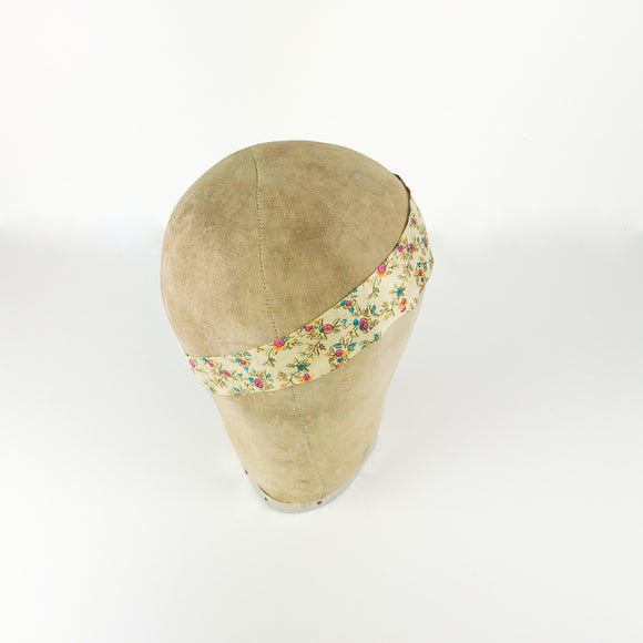 Cream Floral Print Silk Headband