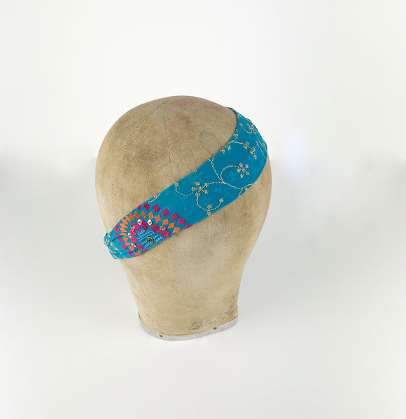 Turquoise Embroidered Headband
