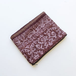 Maroon and Purple Silk Clutch Bag