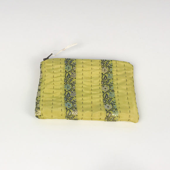Yellow Silk Stripe Purse