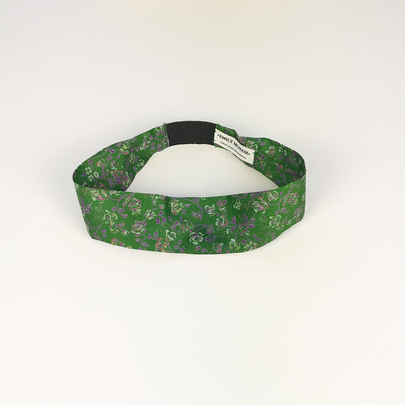 Wide Green Floral Print Headband