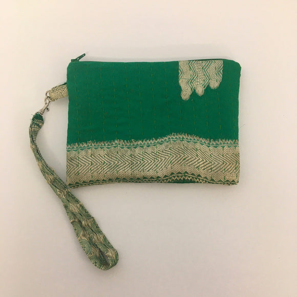 Green Silk Clutch Bag