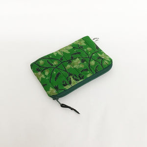 Emerald Green Floral Print Silk Purse