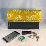Wasabi print cotton waxed canvas foldover clutch bag