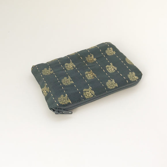 Grey Silk Coin Purse