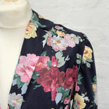 Floral print blazer, close up image of collar and lapel