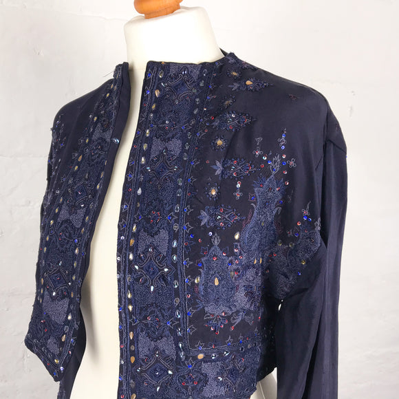 Embroidered Navy Blue Silk Bolero Jacket