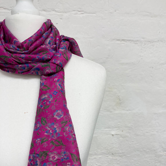 pink floral silk scarf ethical sustainable