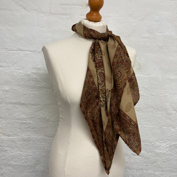 brown paisley print silk scarf
