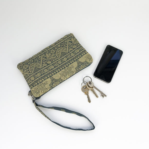 Grey Silk Clutch Purse