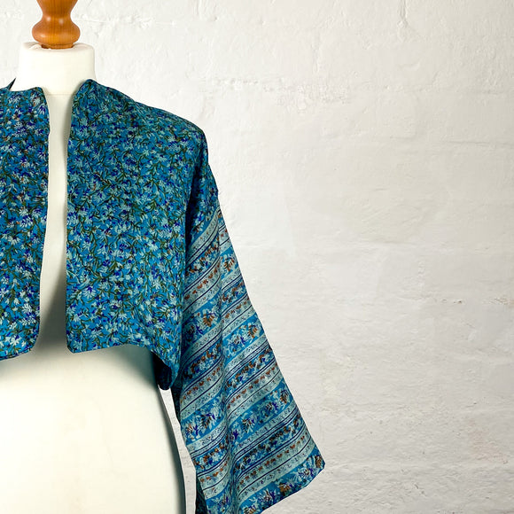 Turquoise with Floral Print Bolero Jacket