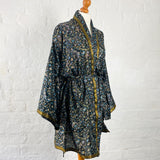 Black with Floral Print Robe