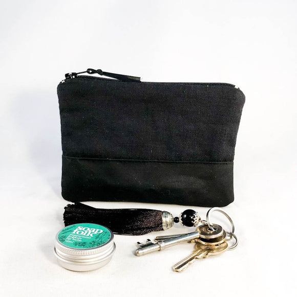 black linen waxed canvas purse