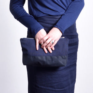 Nancy Clutch in Linen and Waxed Cotton
