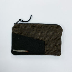 black and brown organic cotton coin purse