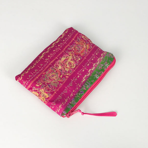 Pink and Green Print Silk Purse