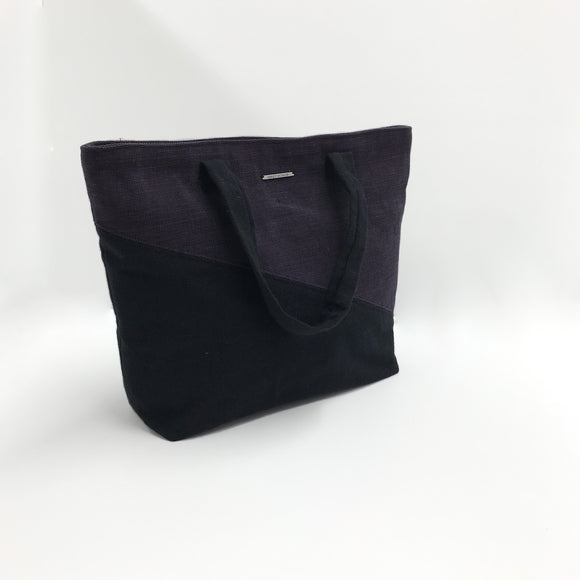 black and purple organic cotton canvas tote bag