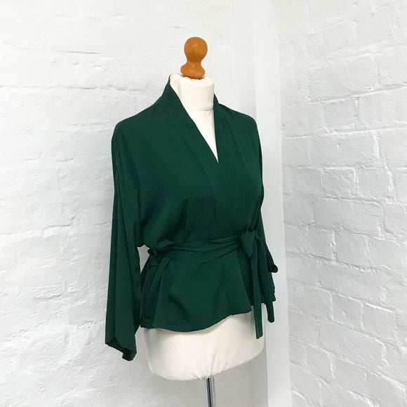 dark green organic bamboo silk jacket
