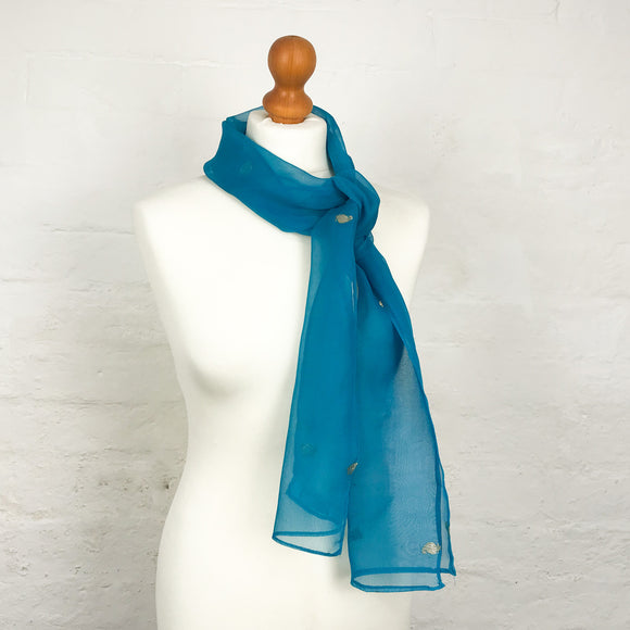 Turquoise Silk Embroidered Scarf