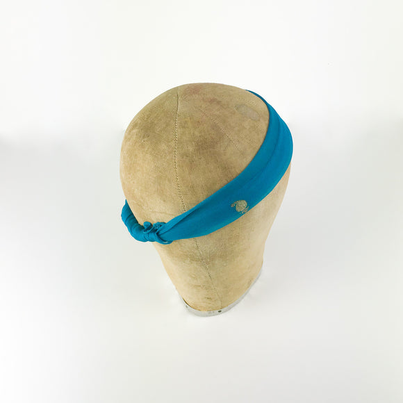 Turquoise Silk Embroidered Headscarf