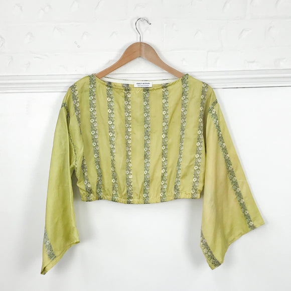 Yellow Striped Silk Top
