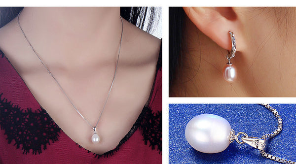 Dainashi 925 Sterling Silver Water Drop Pendant & Necklace Earrings