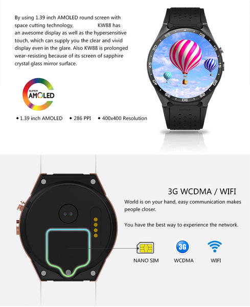 KW88 Android 5.1 smart watch