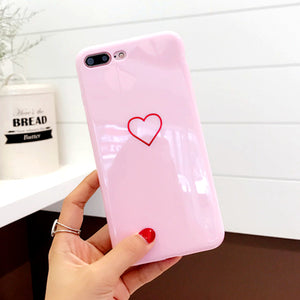 Lovely Heart Painted Phone Case For iphone