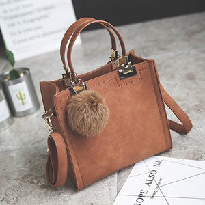 Hot Handbag Women Casual Tote Bag Female Large Shoulder Messenger Bags High Quality PU Leather Handbag With Fur Ball Sac a main