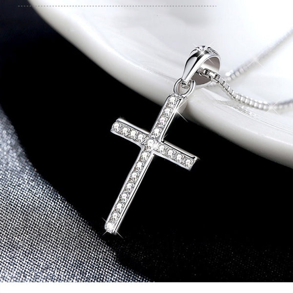 Hot Sale Silver Cross Necklace Fashion Sterling-silver-jewelry For WomenGirls Choker Pendant Necklace Fine jewelry collier femme