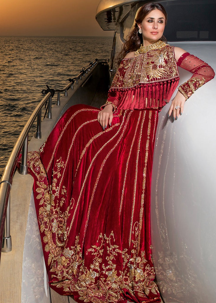 RED VELVET CAPE WITH RED VELVET LEHNGA