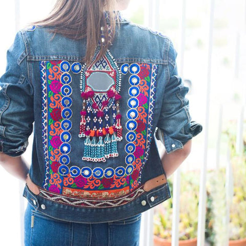 Women's casual patch printed denim jacket