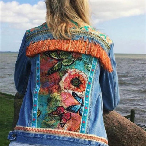 Fashion Printed Fringed Denim Top