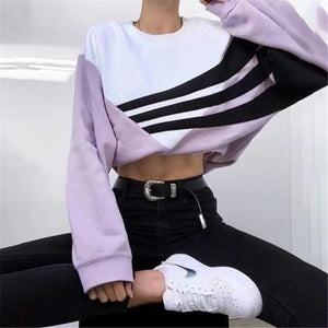 Round neck color print short sweater