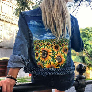 Women's casual print denim jacket