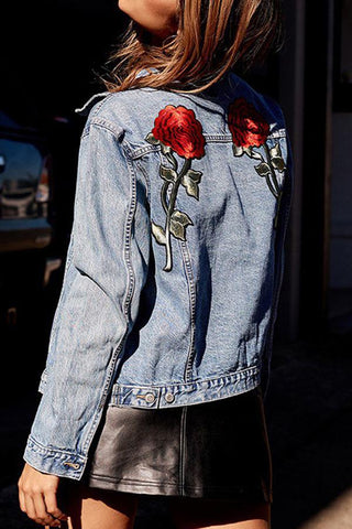 Flower Embroidered Denim Jacket Outerwear