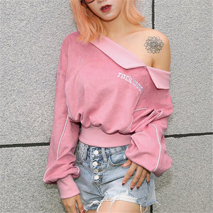Autumn And Winter New Sweater Women's Sexy Strapless Embroidery Loose Ladies Sweater