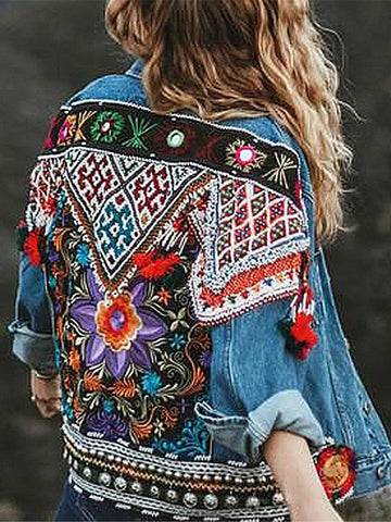 Streetwear Regular Embroidery Stand Collar Jacket
