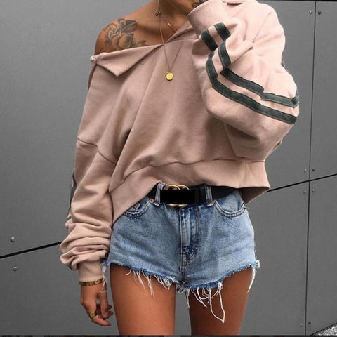 Fashion Striped Batwing Sleeve Loose Hoodie