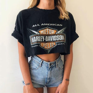 Sexy Exposed Navel Printing T-Shirt