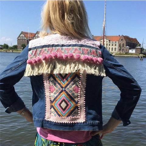 Fashion women's ethnic print tassel denim jacket