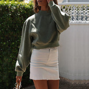 Brief Round Neck Pure Colour Loose Short Sweatshirt