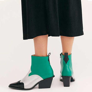 Gentlewomanly mixed color pointed toes ankle boots