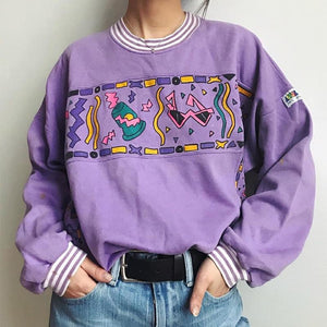 Cute Round Neck Cartoon Print Long Sleeve Sweater