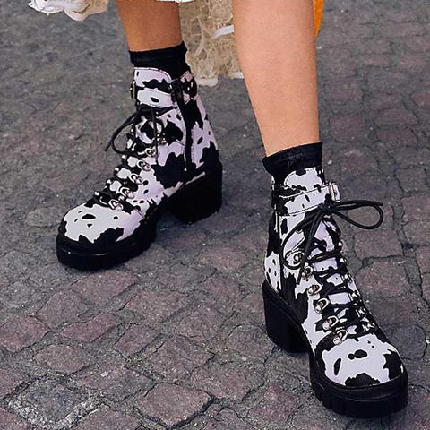 Women's fashion cow pattern lace-up boots