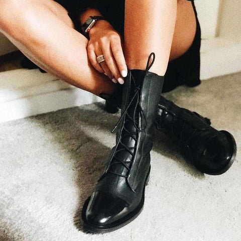 Women's Fashion Black Lace Martin Boots