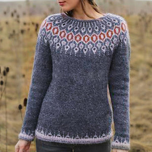 Casual Round Collar Long Sleeved Knitted Sweater